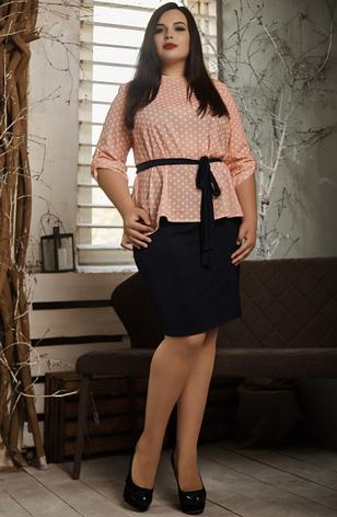 """Летний костюм """"Алифтина"""" в большом размере, размеры 48-50,52-54,56-58 персик с синим, фото 2"""