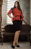 """Летний костюм """"Алифтина"""" в большом размере, размеры 48-50,52-54,56-58 красный с черным"""