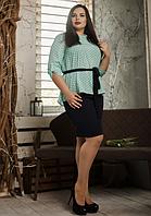 """Летний костюм """"Алифтина"""" в большом размере, размеры 48-50,52-54,56-58 бирюза с синим"""