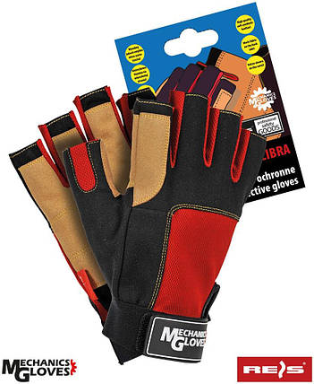 Перчатки для фитнеса RMC-LIBRA BCY без пальцев Reis Польша, фото 2