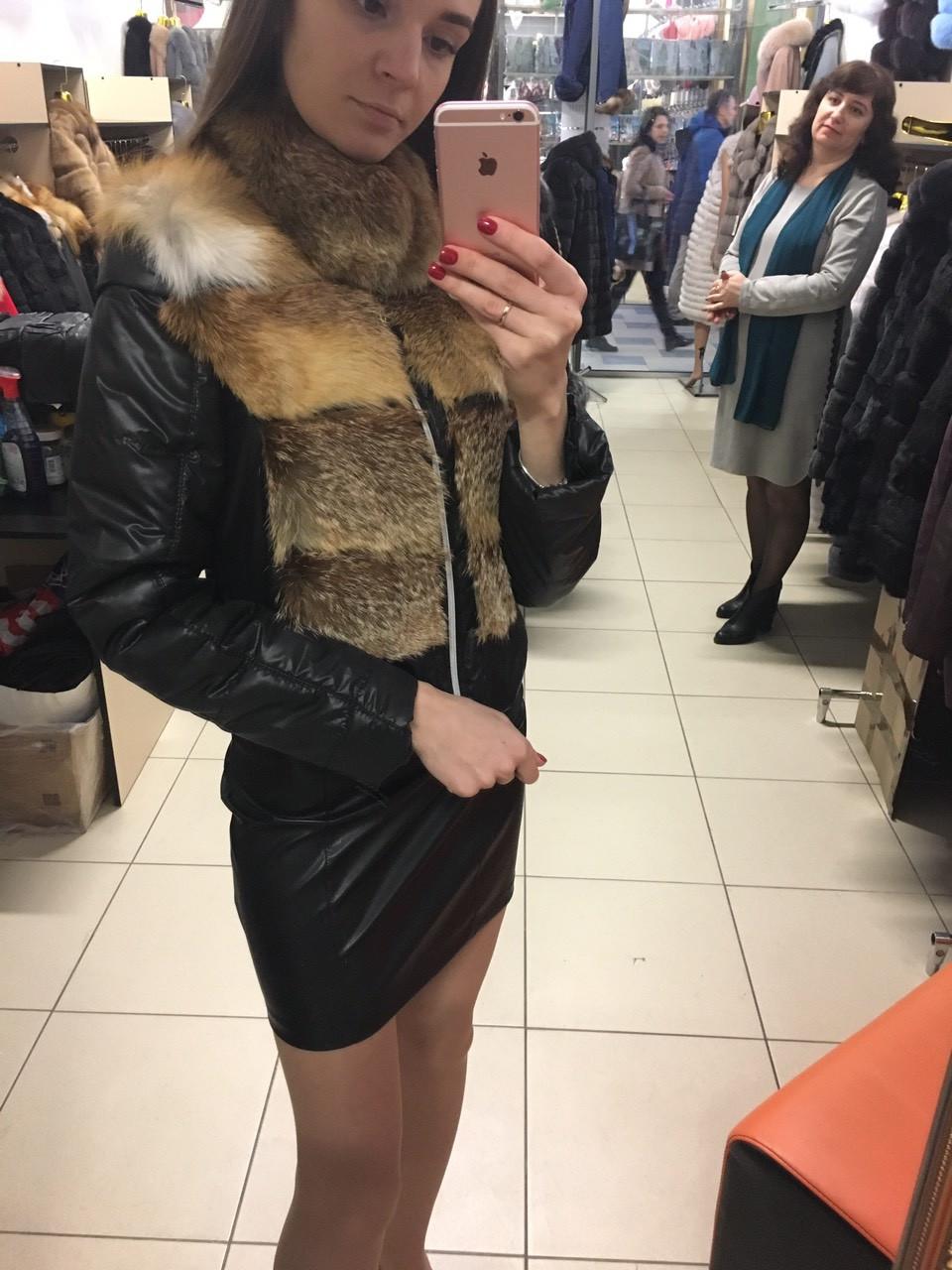 Женская куртка 42 с натуральным мехом лисы