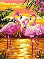 Картина по номерам 30×40 см. Фламинго на красивом закате
