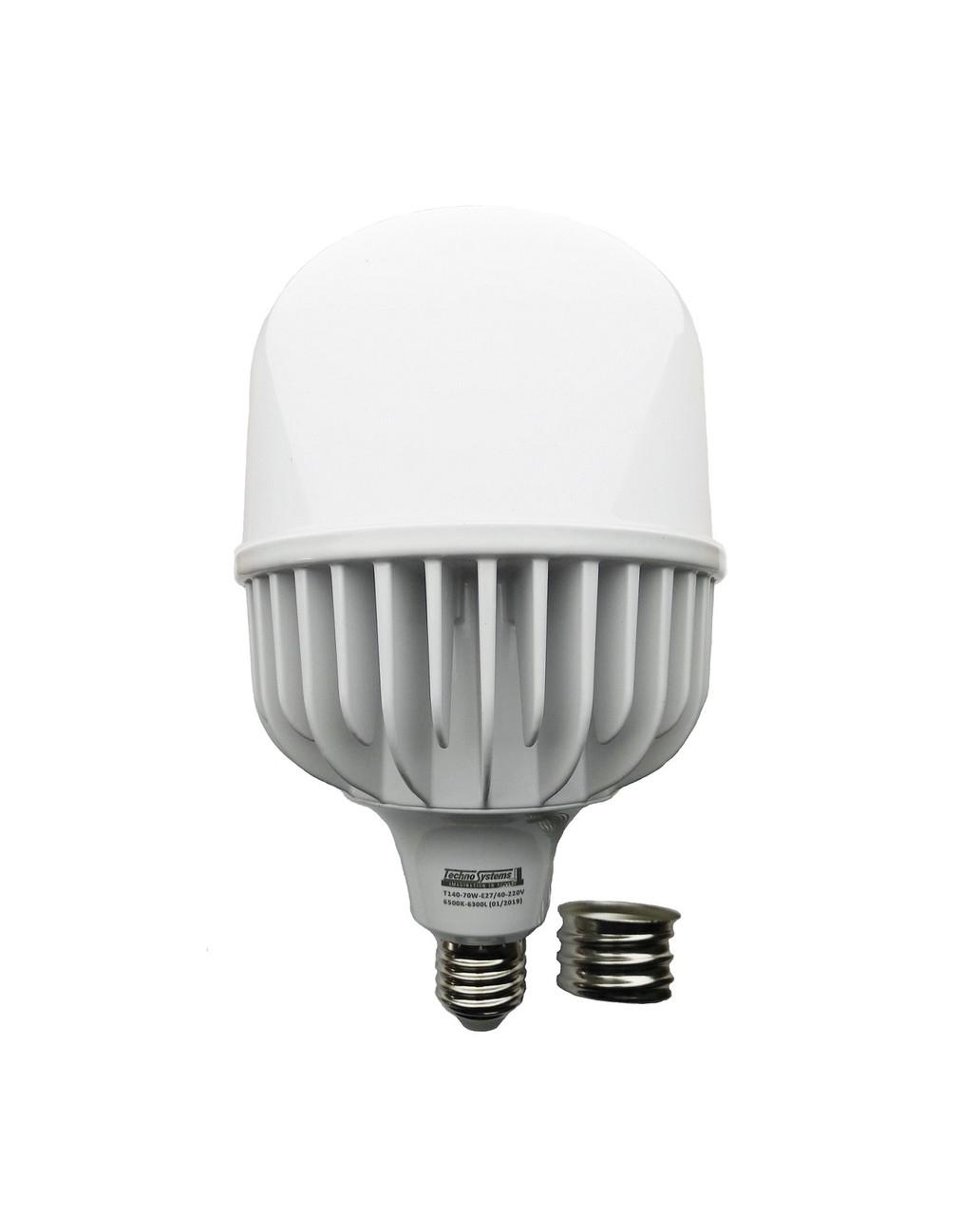 Лампа светодиодная LED Bulb T140 70W E27 E40 220V 6500K 6300L Alum ICCD