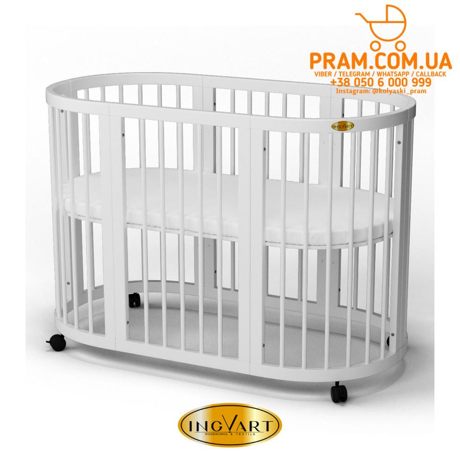 Детская кроватка-трансформер IngVart SMART BED ROUND 9 в 1 Круглая Белый