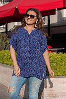 Женская стильная легкая летняя котоновая цветная блузка батал со змейкой на груди (р-ры 56-62) .  Арт-1001/11, фото 1