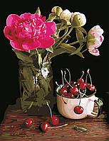 """Картина по номерам """"Пионы и вишни"""" 50*65см в коробке"""