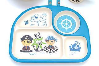 Комплект детской посуды из бамбукового волокна ЭКО-посуда набор из 5 предметов, фото 2