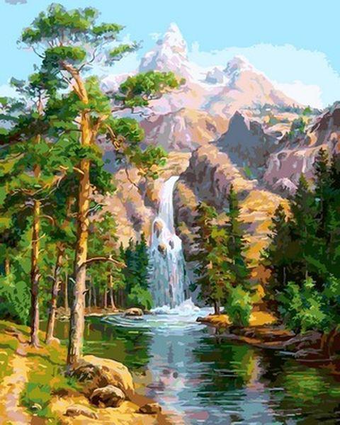 Картина по номерам 40×50 см. Горный водопад