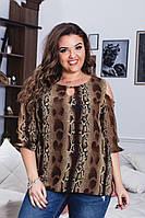 Елегантна жіноча легка літня шифонова батальна блуза з леопардовим принтом (р-ри 52-56) . Арт-1003/11, фото 1