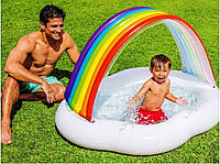 """Детский надувной бассейн """"Радуга"""" INTEX с навесом, 142х119х84см, 82 л, от 1 до 3 лет"""
