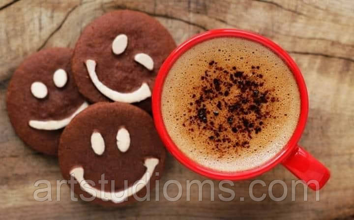 Картина раскраска по номерам Какао и веселое печенье 40 х 50 см, Без Коробки