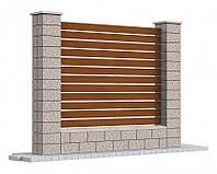 Блок для заборов с гладкой стороной, 390х190х190, графит, Авеню