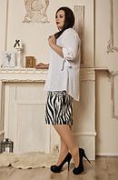 """Летний костюм """"Роксолана"""" в большом размере, размеры 54,56,58 белый с черным"""