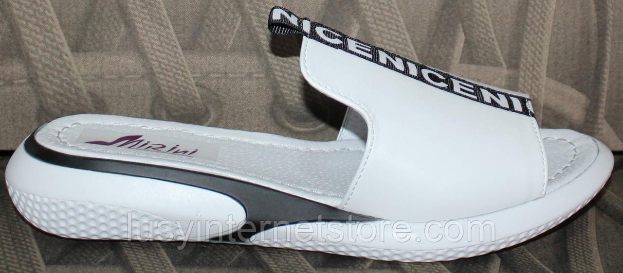 Сабо белые летние кожаные женские от производителя модель РИ10-8Ш