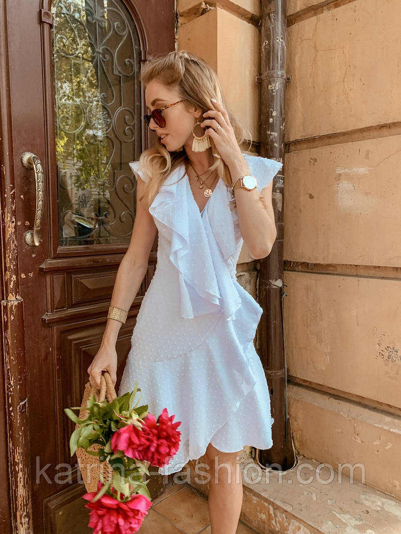 Женское платье с рюшами (в расцветках)