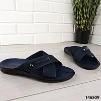 """Шлепанцы мужские, синие """"Desto"""" текстильные, шлепки мужские, тапочки мужские, вьетнамки мужские, обувь летняя"""