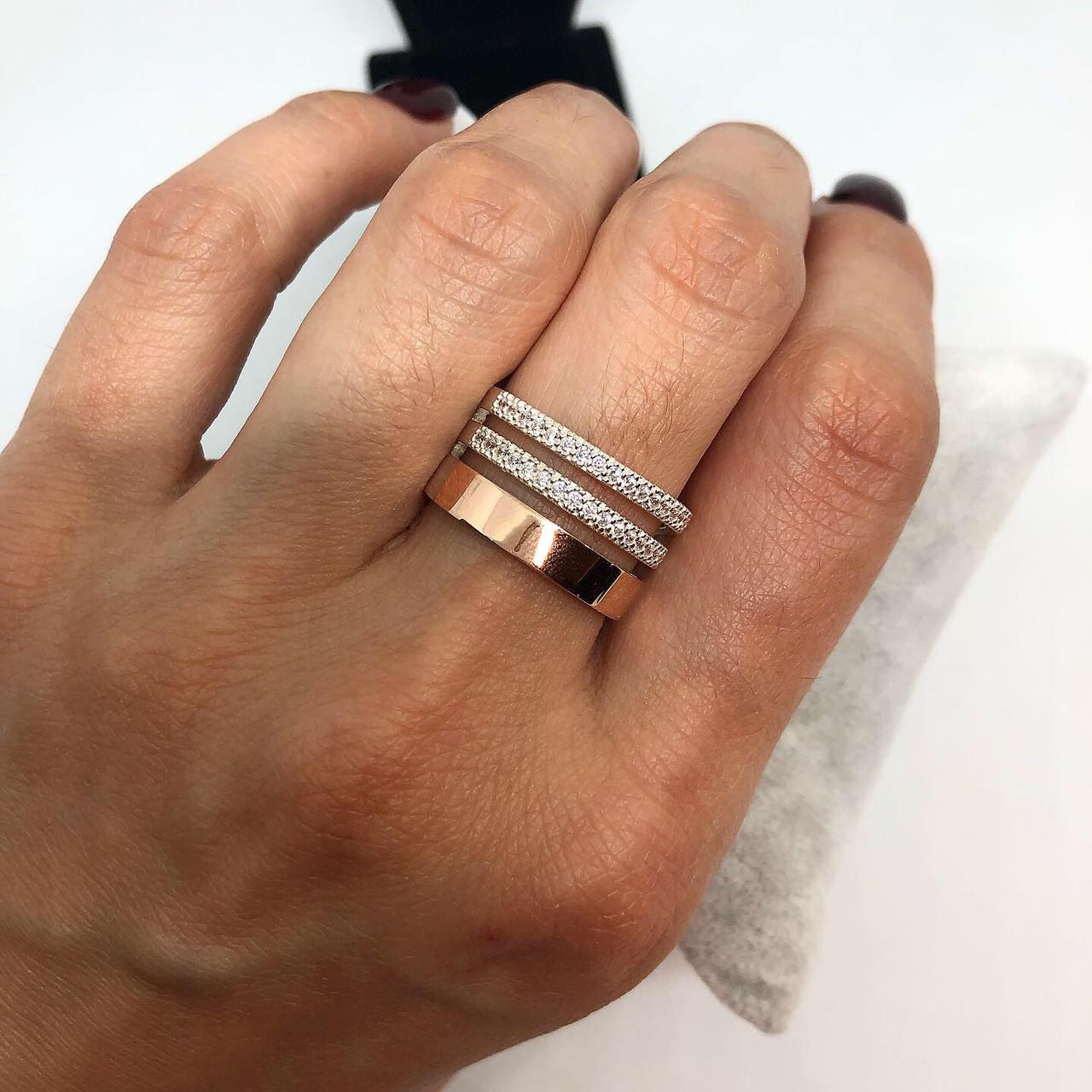 Кільце з срібла 925 My Jewels з золотою накладкою потрійне (розміри 17 - 19)