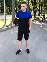 Футболка поло + Шорты + Барсетка! Спортивный костюм мужской летний в стиле Nike 2-color черно-синий, фото 1