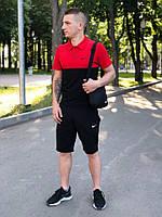 Комплект Футболка поло + Шорты + Барсетка Nike черный-красный   Спортивный костюм мужской летний Найк ТОП