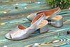 Женские босоножки на невысоком каблуке, цвет серебро, фото 2
