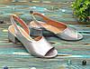Женские босоножки на невысоком каблуке, цвет серебро, фото 3