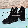 Ботинки   на утолщенной подошве, на шнурках, из натуральной черной замши, фото 2