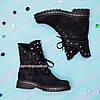 Ботинки   на утолщенной подошве, на шнурках, из натуральной черной замши, фото 4