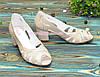 Босоножки женские лаковые на невысоком устойчивом каблуке, фото 3