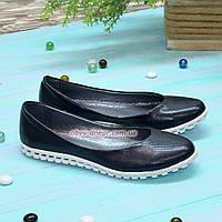 Туфли  женские кожаные на низком ходу, цвет синий, фото 1
