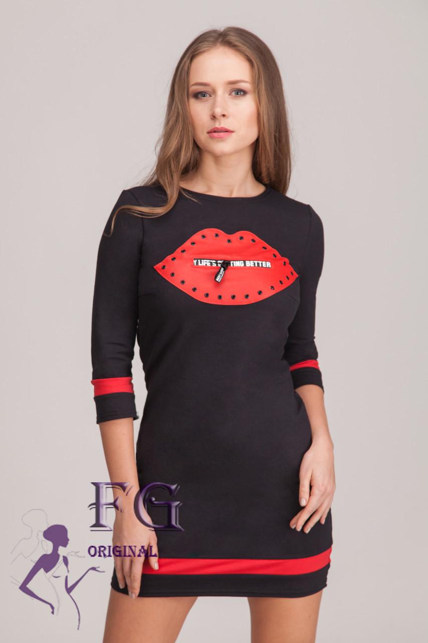 """Платье женское """"Lips"""" черный, 42"""