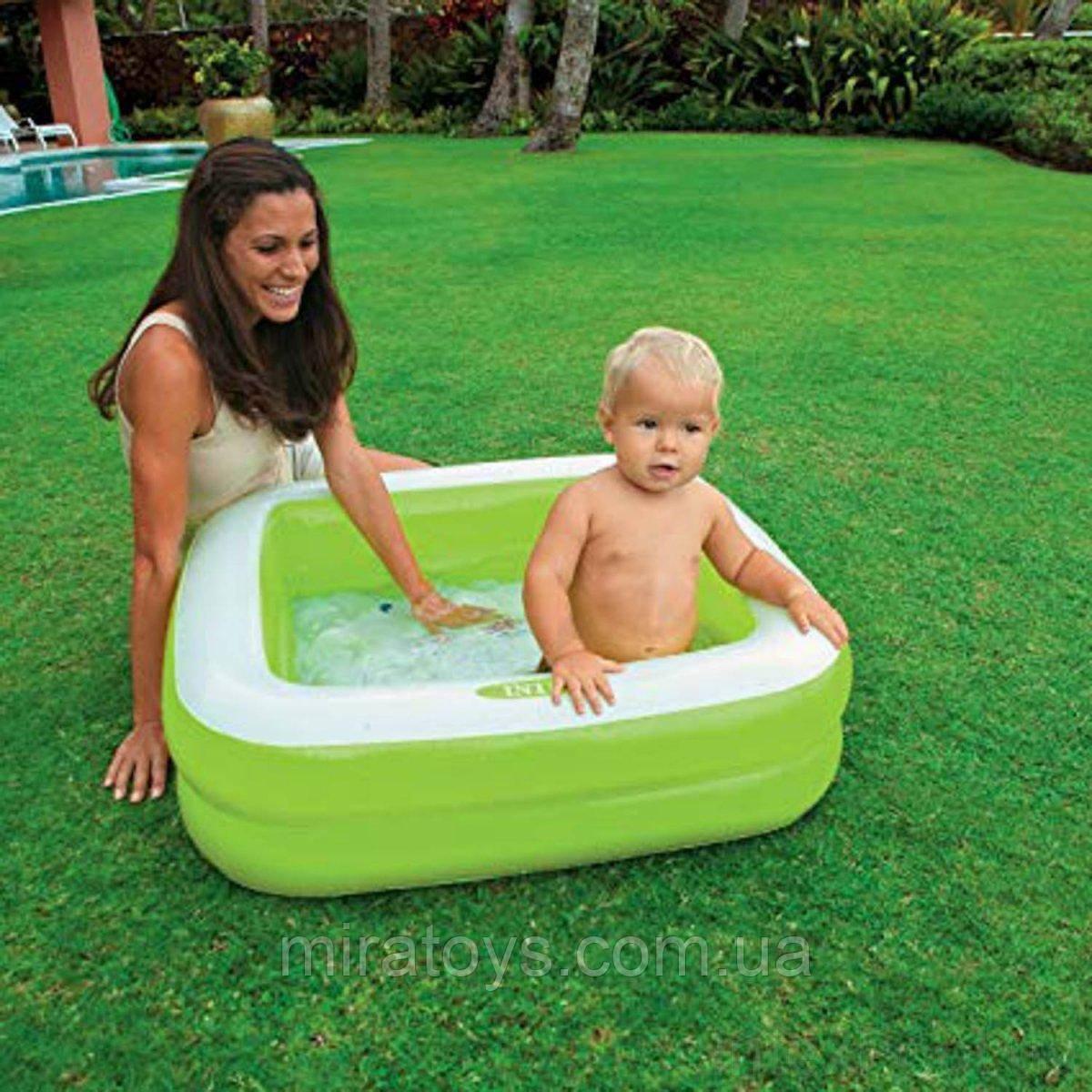 ✅Дитячий надувний басейн Intex 57100, зелений, 85 х 85 х 23 см