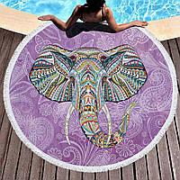 Круглое пляжное полотенце Индийский слон (150 см.)