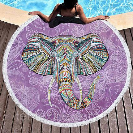 Круглое пляжное полотенце Индийский слон (150 см.), фото 2