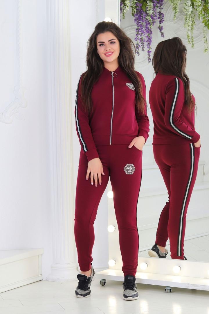 29fd13fb26d8 Женский спортивный костюм из турецкой двунити с лампасами на молнии 42-44,  46-