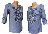 Вишита блуза для дівчинки підлітка на джинсі з геометричним орнаментом, фото 1