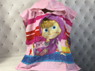Детское пляжное полотенце пончо 56*115 см, Маша и Медведь