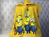 Детское пляжное полотенце пончо 56*115 см, Миньйоны