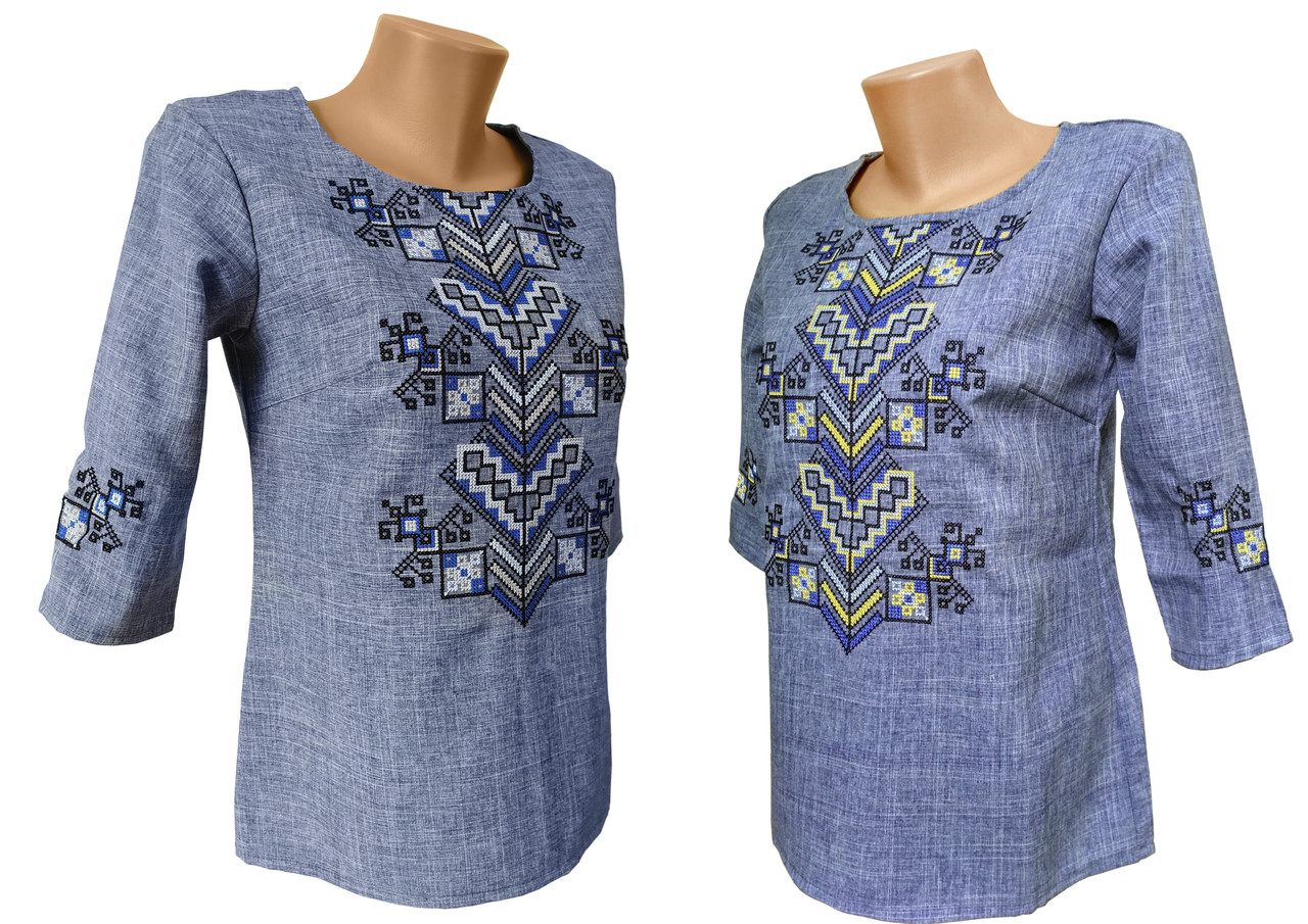 Вышитая женская блуза на 3/4 рукав в цвете джинс «Дерево жизни»