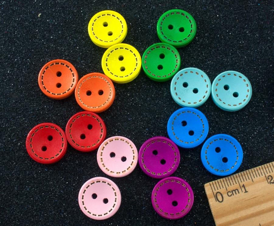 (20 шт) Пуговицы из дерева Ø15мм, пуговки цветные Цвет - микс