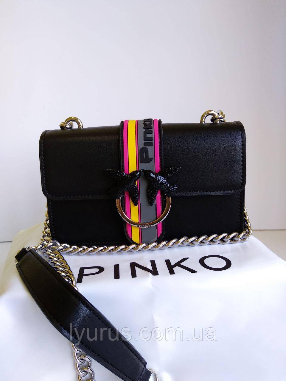 Сумка кожаная женская Pinko черная