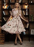 Нежное пудровое платье с клешным низом