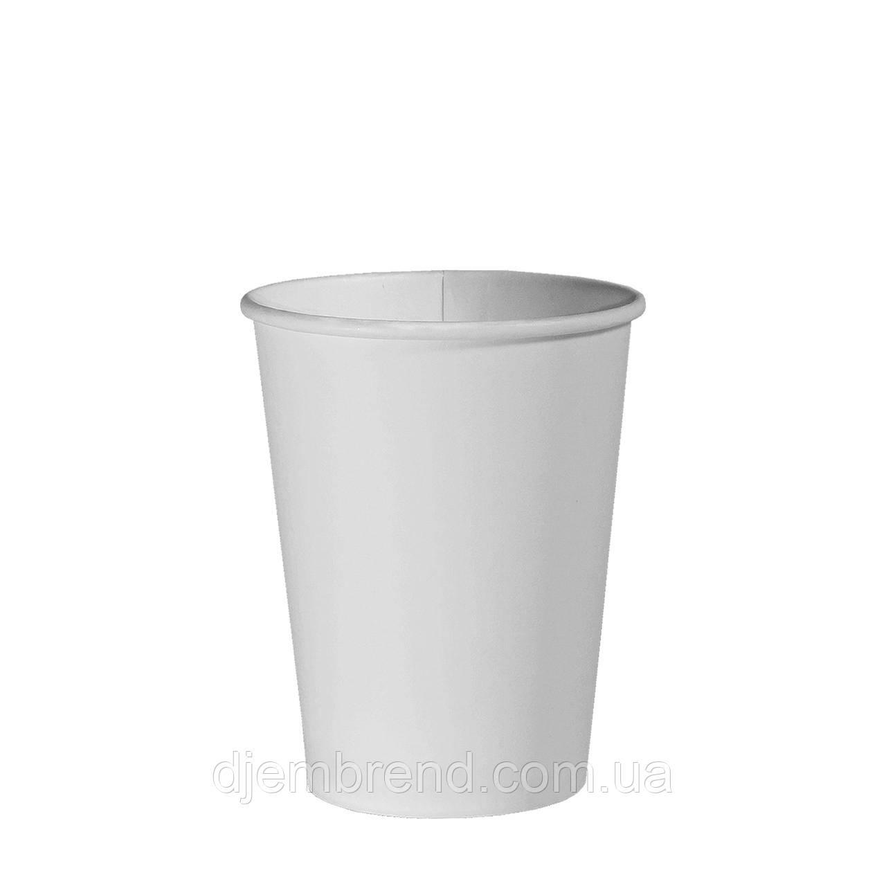 Стакан бумажный Белый 250мл. 50шт/уп (1ящ/48уп/2400шт) (КР75)