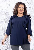Красивая  женская элегантная прямая блуза больших размеров (р-ры 54-58).  Арт-1011/11, фото 1