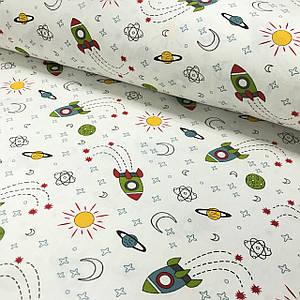 Ткань муслин Двухслойная космос, ракеты зеленые на белом (шир. 1,55 м)