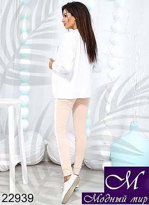 Женский белый спортивный костюм (р. 42, 44, 46, 48, 50, 52) арт. 22939, фото 2