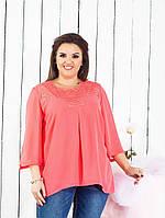 Красива елегантна жіноча шифонова блуза вільного крою великих розмірів (р-ри 56-62). Арт-1012/11, фото 1