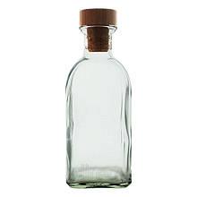 Стеклянный графин бутылка 1 л с деревянной пробкой Fraska Everglass