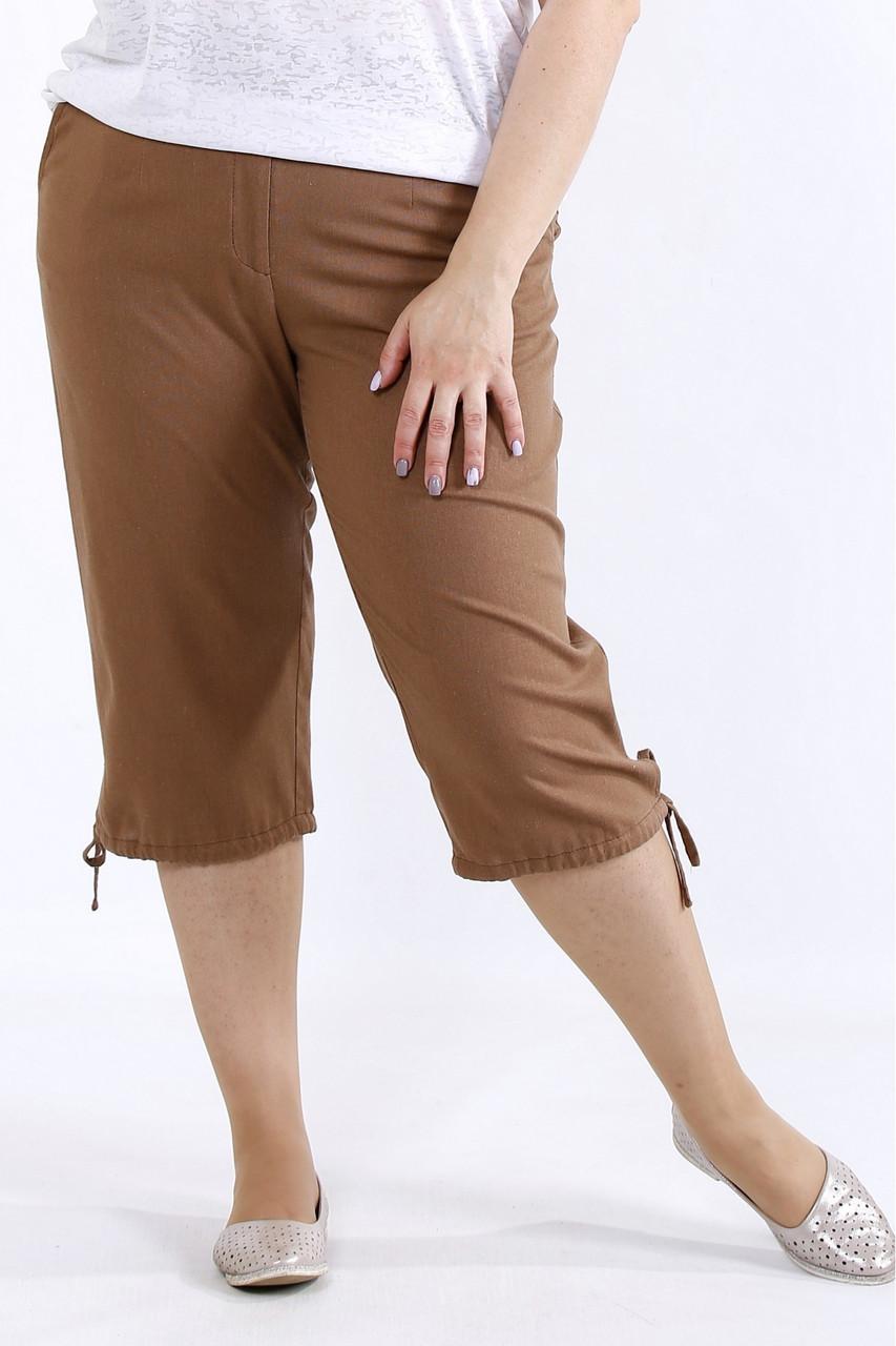 Жіночі літні брюки, бриджі лляні великих батальних розмірів 42-74