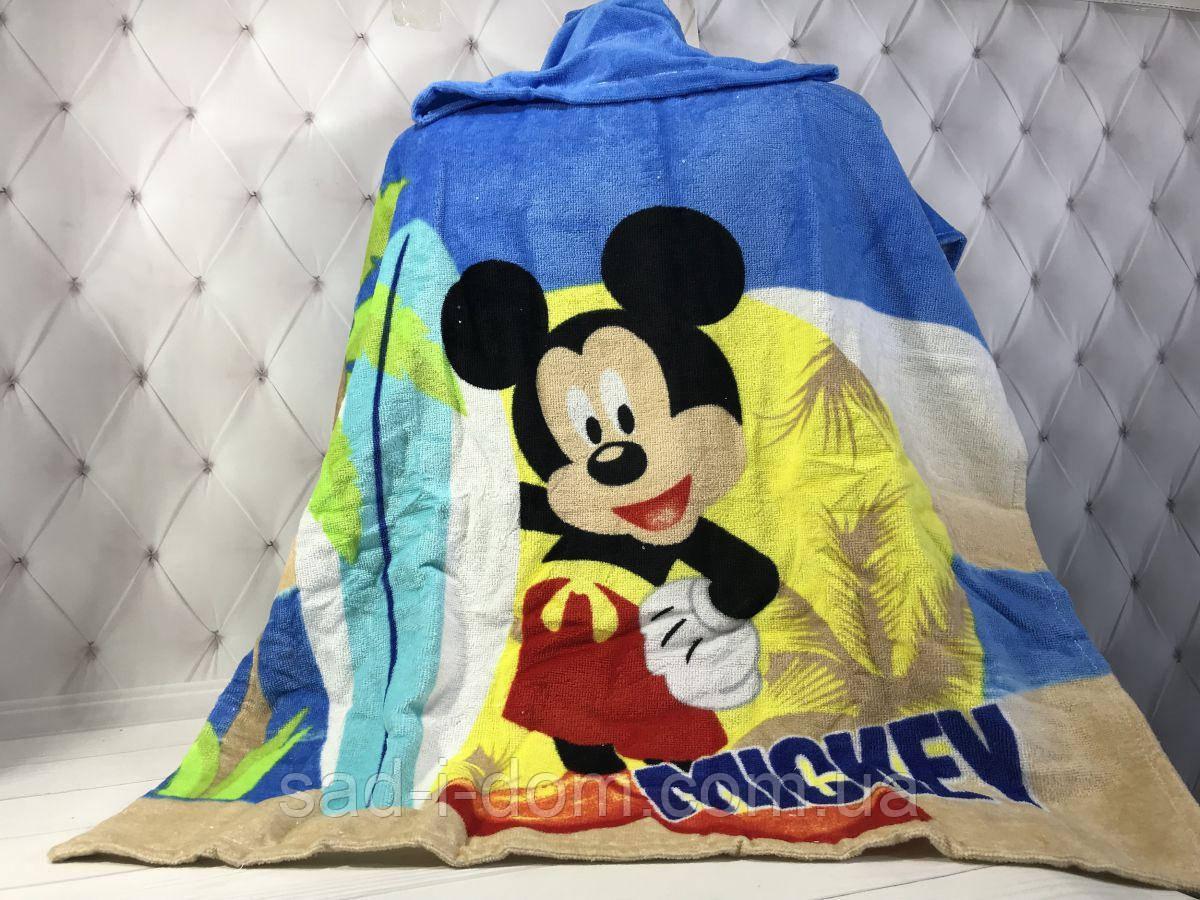 Детское пляжное полотенце пончо 70*140 см, Микки Маус 2