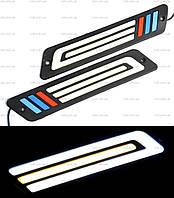 DRL дневные ходовые огни гибкие ДХО LED № 08 с поворотом W+Y 12V 2352 резиновые (гибкие на 3М скотче)